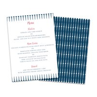 Personalized Navy Blue Dots Wedding Menu Card