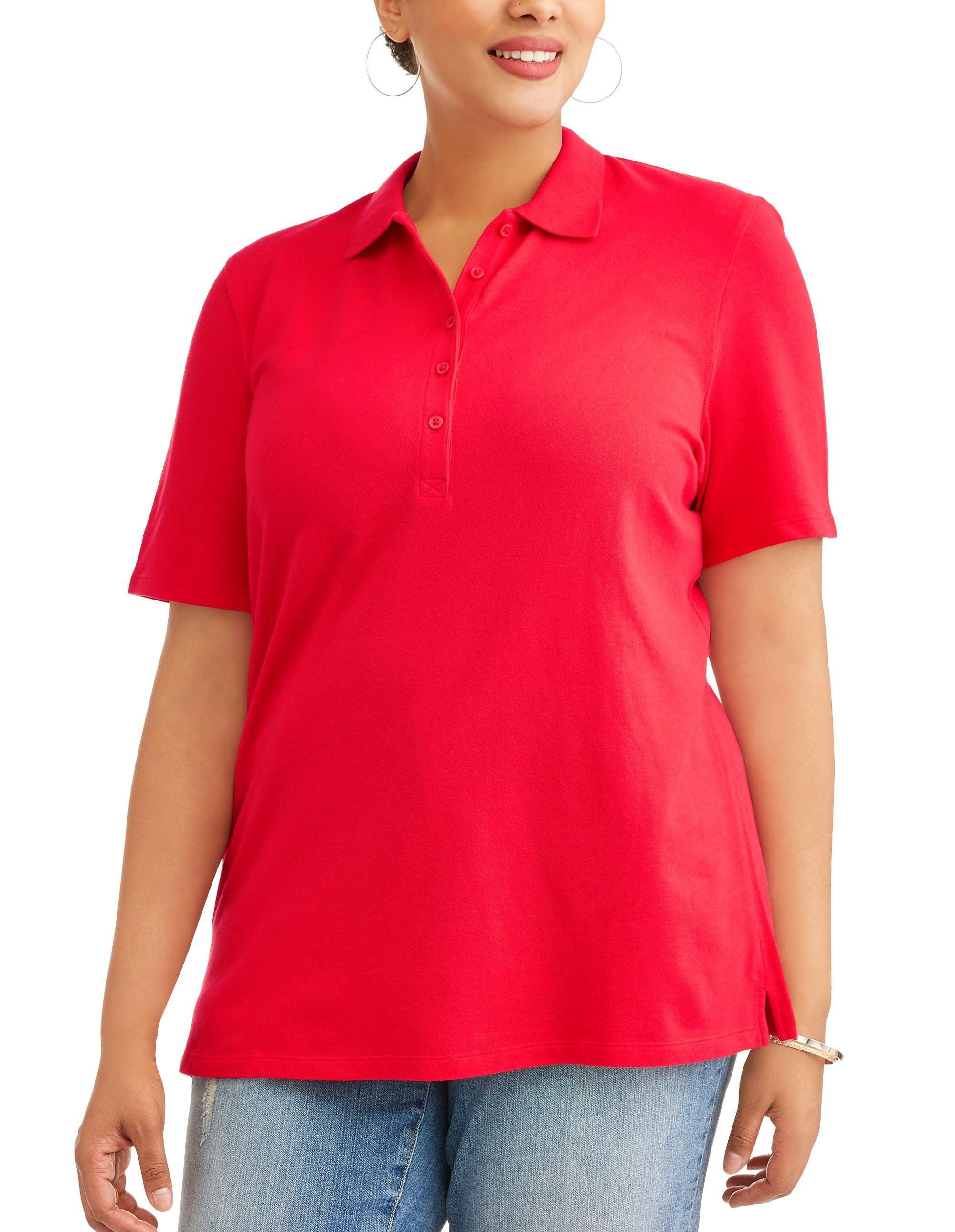 Generic - Women's Plus Short Sleeve Polo Shirt - Walmart.com