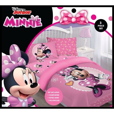 Disney 3pc MINNIE MOUSE Bowtiful Dreamer Bedding Set, Licensed Twin Comforter W/Fitted Sheet And Pillowcase - Mouse Comforter Bedding Set
