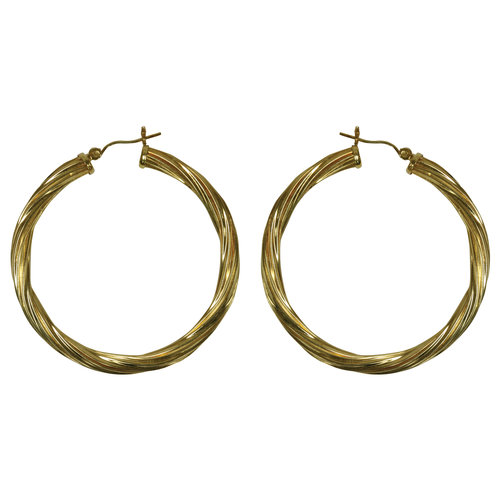 Forever New Gold Tone Large Twisted Hoop Earrings