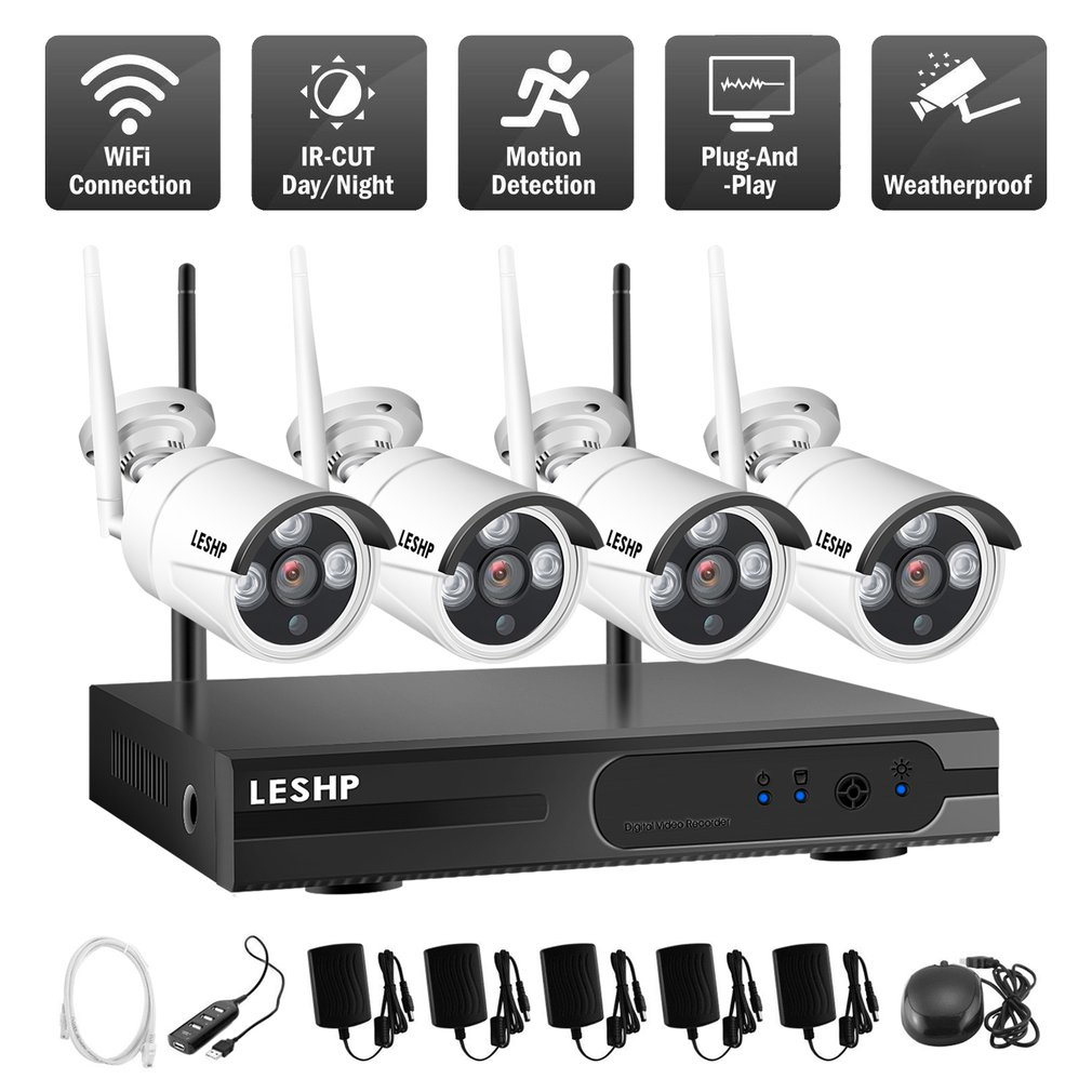 LESHP Wireless Security Camera System 4 CH 720p Video Recorder NVR 4 x 1.0MP Wifi Outdoor Network IP Cameras Motion Detect