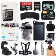 GoPro HERO+ LCD Camera Camcorder (CHDHB-101) with Premium Accessories Bundle includes 32GB MicroSD Card + 13200mAh Solar Charger + Case + Head/Chest Strap + Car Dash Mount + Stabilizer Grip & More