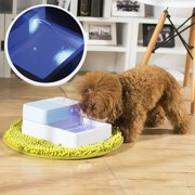 1.8L LED + UV Sterilization Automatic Pet Water Fountain 12V Pet Waterer Safe Drinking Filter Bowl for Dogs Cats