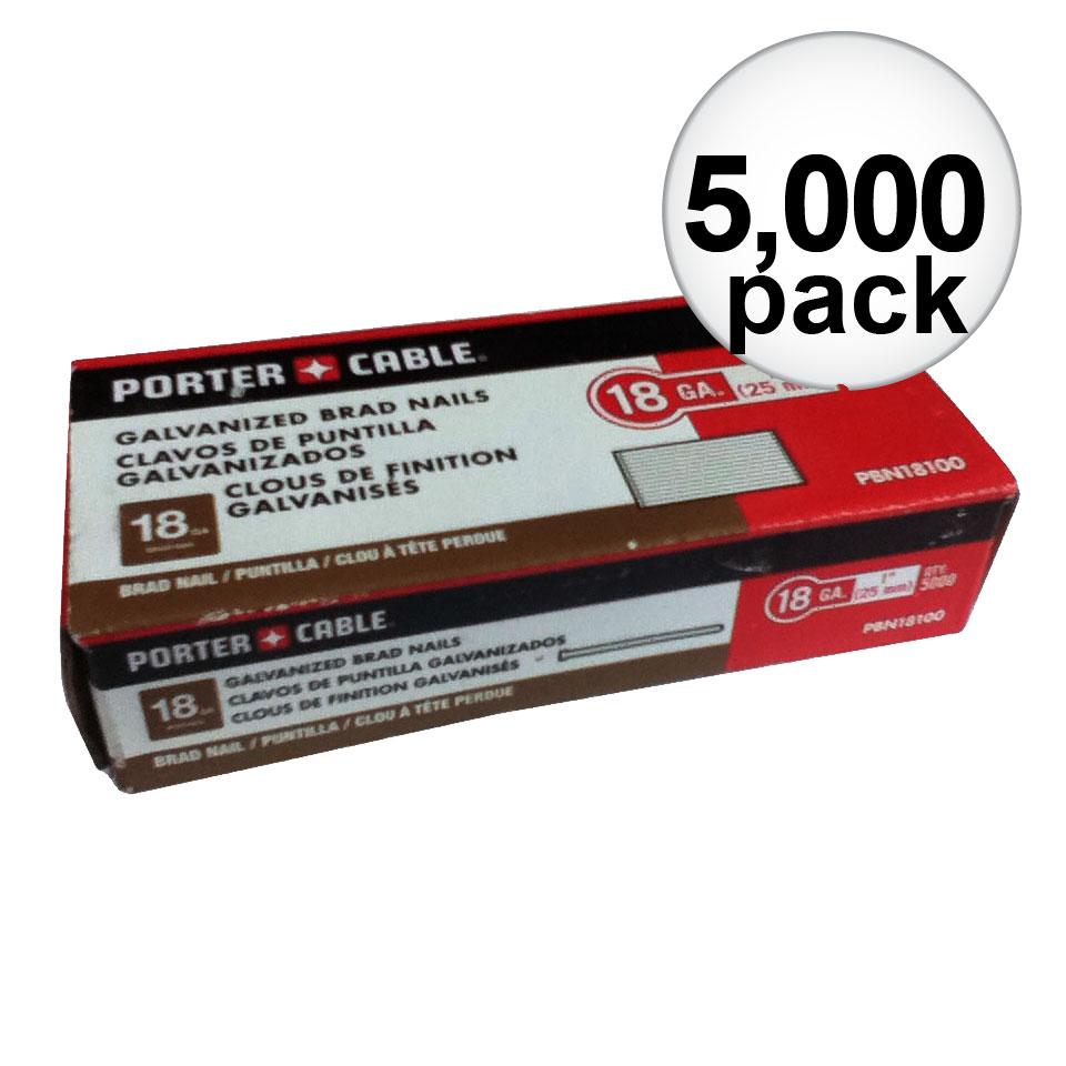 "Porter-Cable PBN18100 Box of 5,000 1"" 18 Gauge Galvanized Brad Nails"