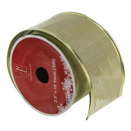 Shimmery Gold Horizontal Wired Christmas Craft Ribbon 2.5
