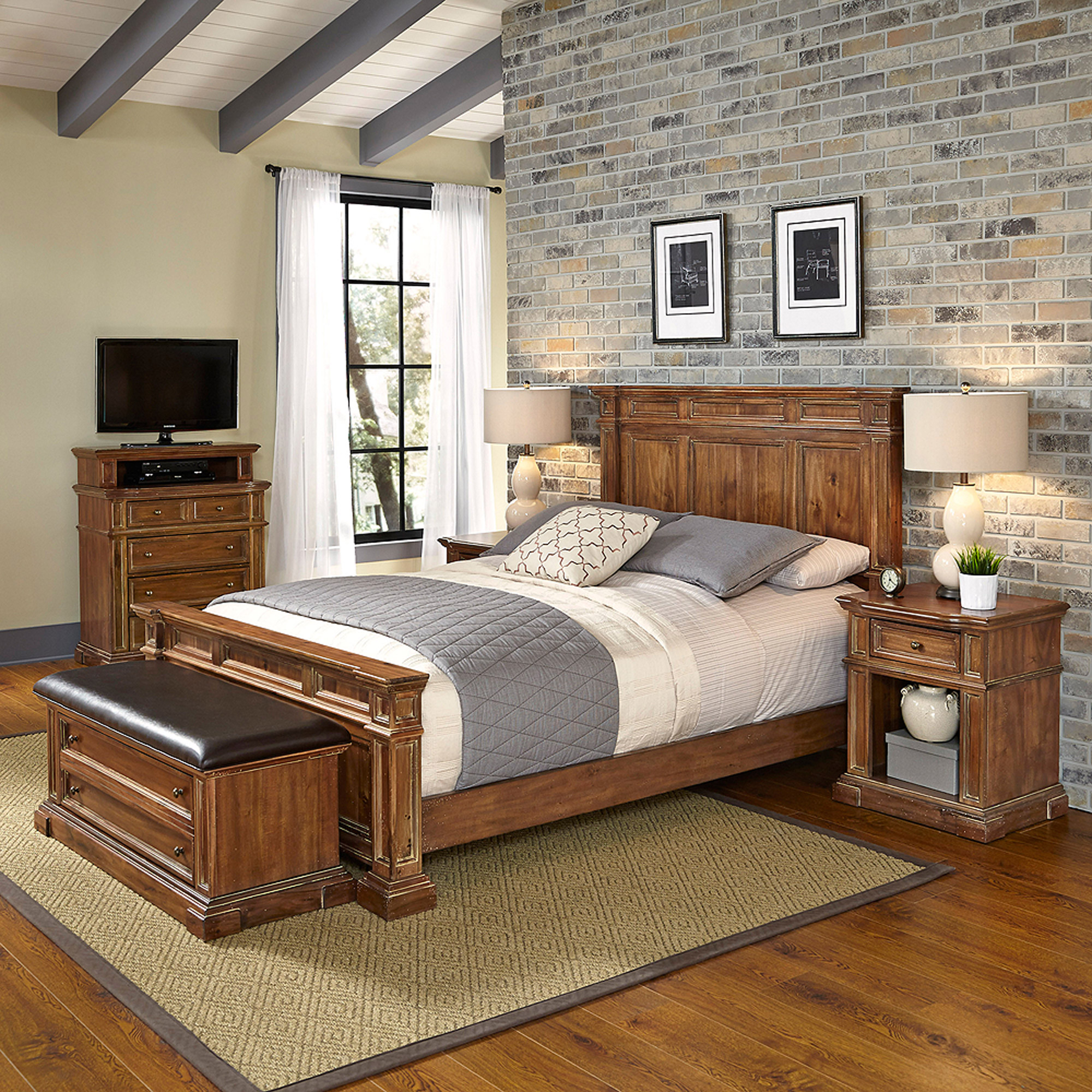 Home Styles Americana Vintage King Bed, 2 Night Stands, Media Chest and Upholstered Bench
