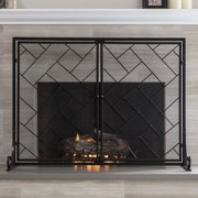 Best Choice Products 44x33in 2-Panel Handcrafted Wrought Iron Geometric Fireplace Screen w/ Magnetic Doors - Black