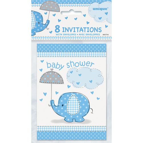 Elephant Baby Shower Invitations, 5.5 x 4 in, Blue, 8ct