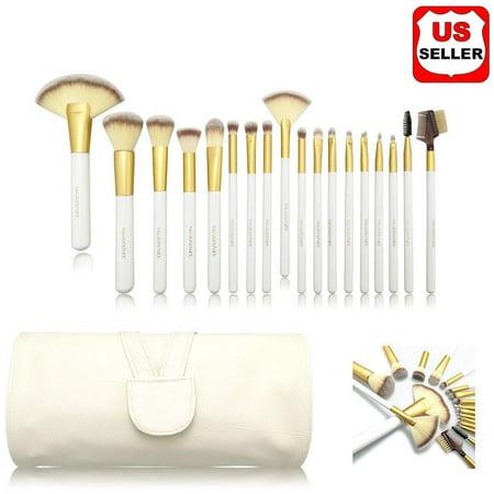 18Pcs Makeup Brush Set with pouch bag for Kabuki Powder Foundation Eyeshadow Blush Cosmetic Brushes (Kabuki Set Brush)