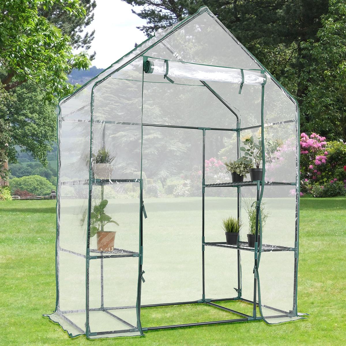 Costway Portable Mini Walk In Outdoor 3 Tier 6 Shelves Greenhouse
