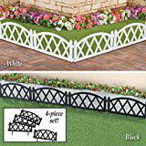 Picket Black Fence Garden Border Edging Set of 4 (Black Picket Fence)