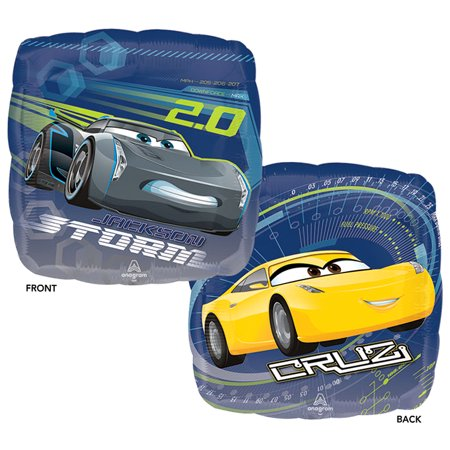 Anagram Cars 3 Cruz and Jackson Storm Double-Sided Square Foil Balloon, 17 inches, 1 count
