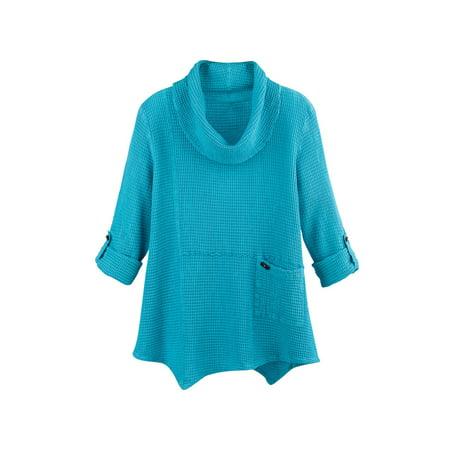 Focus Fashion Women's Tunic Top - Lightweight Waffle-Weave Roll-Tab Sleeve Shirt