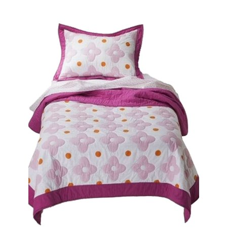 Girls Pink And Orange Flower Dot Stitched Full Queen Quilt & Shams Set 3 (Kamila Girl Flower Quilt And Sham Separates)