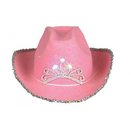 Child Pink Blinking Tiara Cowboy Hat (Kids Jester Hat)