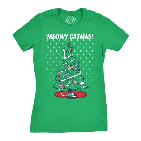 Womens Meowy Christmas Cat Tree Ugly Christmas Sweater T shirt GREEN (Cat Proof Christmas Tree)