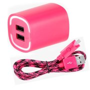 Kuku Wall Charger With Braided Micro USB Cable for micro usb devices - Pink