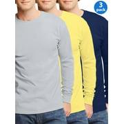 Mens Tagless Cotton Crew Neck Long-Sleeve T-Shirt, 3 Pack