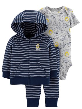 Child Of Mine By Carter's Hooded Cardigan, Short Sleeve Bodysuit & Pants, 3Pc Outfit Set (Baby Boys)