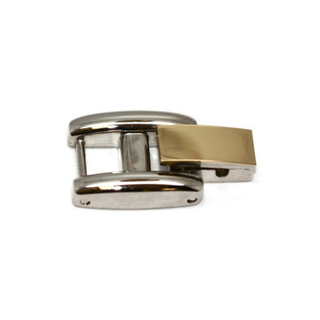 TWO TONE STAINLESS STEEL FOLD OVER CLASP WOMENS WATCH BRACELET EXTENDER -