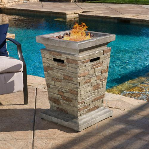 Delightful Christopher Knight Home Laguna Outdoor 19 Inch Column Propane Fire Pit With  Lava Rocks