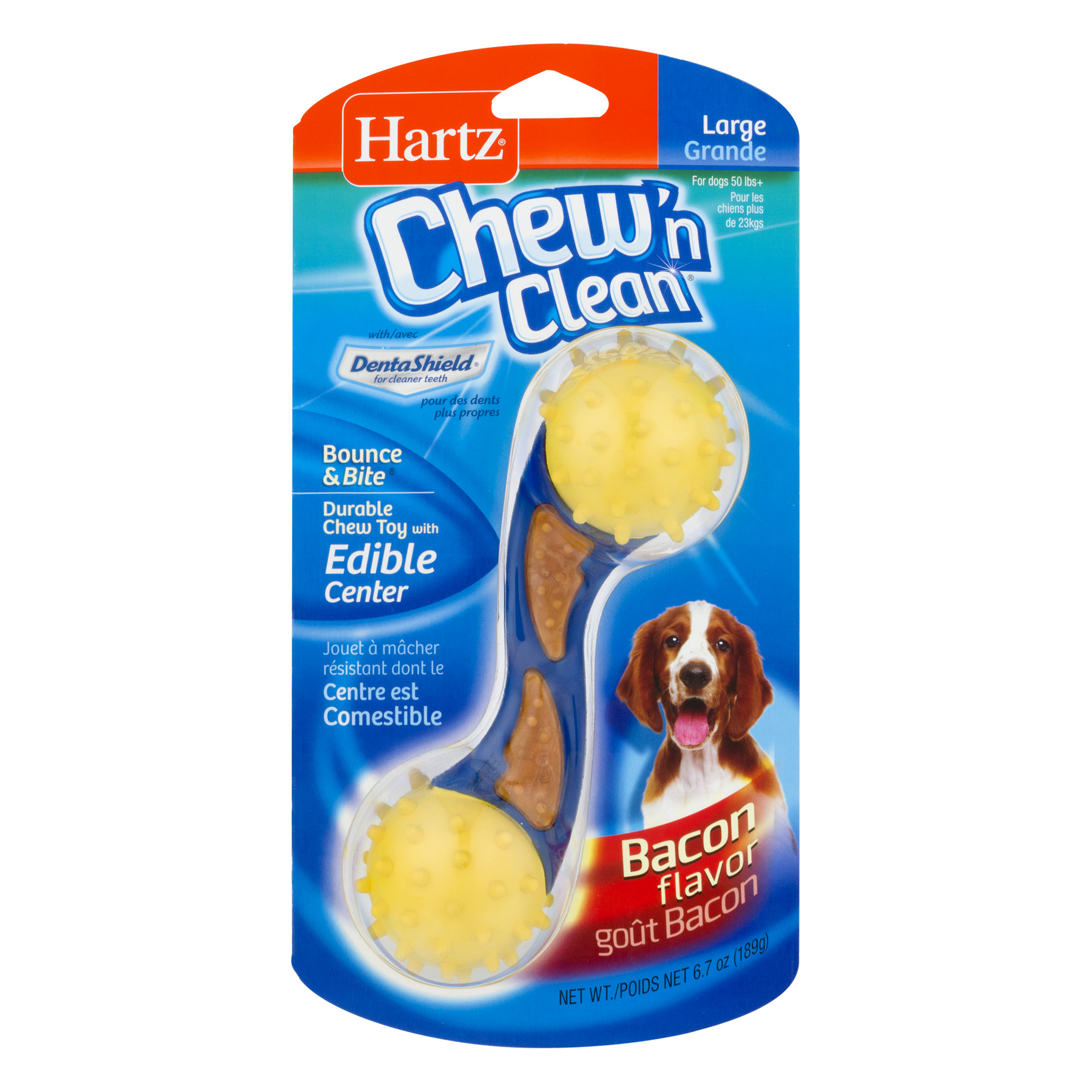 Hartz Chew 'n Clean Chew Toy, Bacon, Large