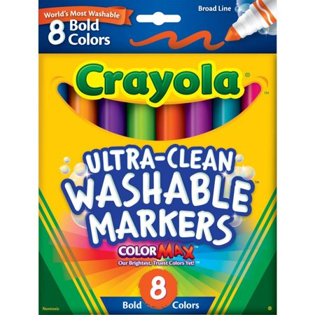Crayola Washable Markers, Broad Line, Bold Colors, School Supplies, 8 - School Supplies On Sale