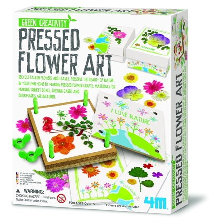Pressed Flower Art Kit, The kit's 4-inch flower press will make attractive cards, bookmarks, trinket boxes, and more. By 4M
