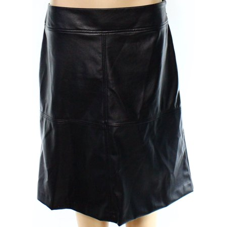 Alfani NEW Black Womens Size 6 Faux Leather Side Zip A-Line Skirt A-line Back Zip Skirt