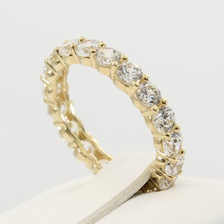 2.00 Ct 14K Real Yellow Gold Round Cut Eternity Endless Wedding Anniversary Ring Band