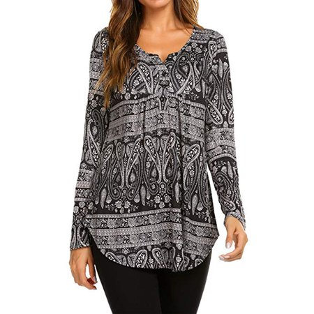 Women's Paisley Printed Long Sleeve Henley V Neck Pleated Casual Flare Tunic Blouse Shirt Abstract Print Pleated Blouse