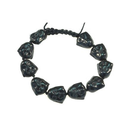 - Black Color Turquoise Happy Buddha Macrame Style Adjustable Bracelet - Good for Healing and Protection - 91070