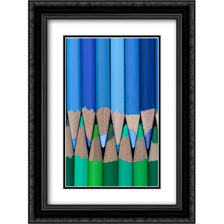 - Colored Pencils I 2x Matted 18x24 Black Ornate Framed Art Print by Mahan, Kathy
