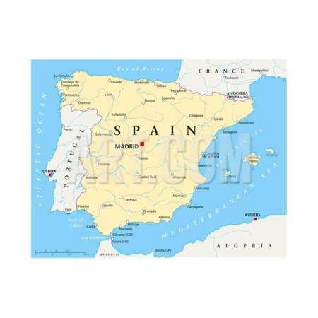 Map Of Spain Political.Spain Political Map Print Wall Art By Peter Hermes Furian