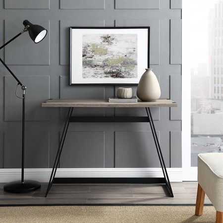 Manor Park Rustic Wood and Metal Computer Desk - Grey Wash (Industrial Computer Desk)