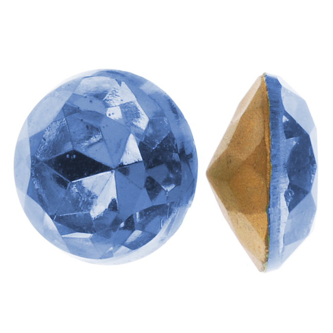 Czech Glass Table Cut - Round Chatons Pointed Foiled Back Lt. Sapphire 11mm (4)