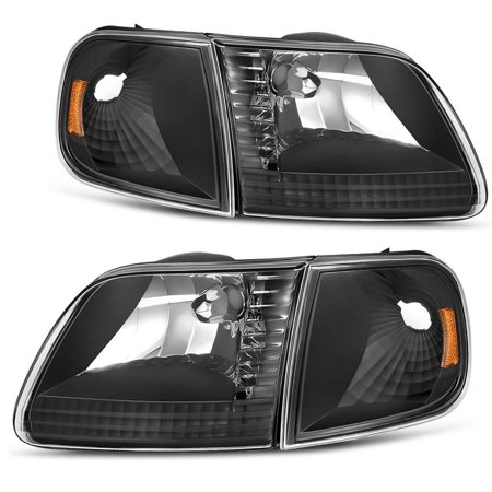 Pickup Corner Light (Headlight Assembly for 1997-2003 Ford F-150 Pickup / 1997-2002 Ford Expedition Headlamp with Corner Light, Black Housing Clear Lens, One-Year Warranty(Passenger And Driver Side))