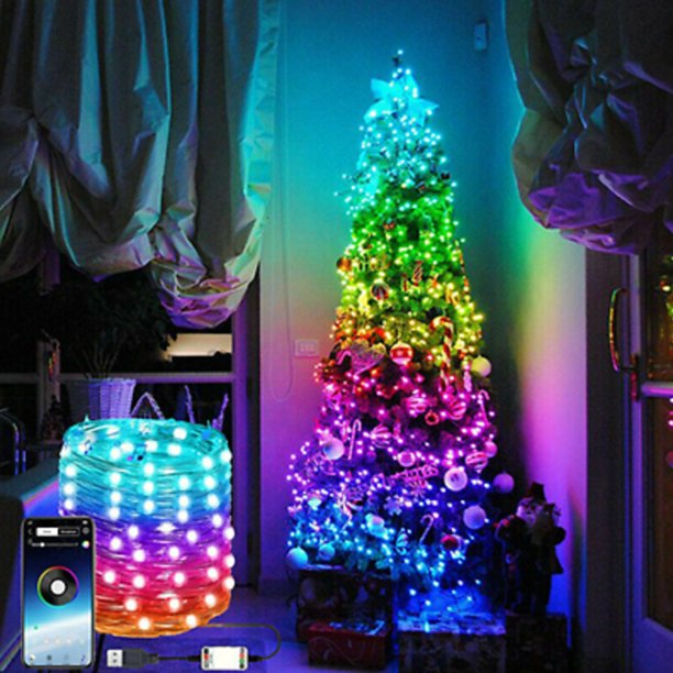 App Color Sync Christmas Lights Waterproof Starry String Lights Fairy String Lights Usb Powered Color Changing Led Fairy Lights With Bluetooth Plug In Rgb For Bedroom Patio 6 5ft 16 5ft 33ft 65 6ft Walmart Com Walmart Com