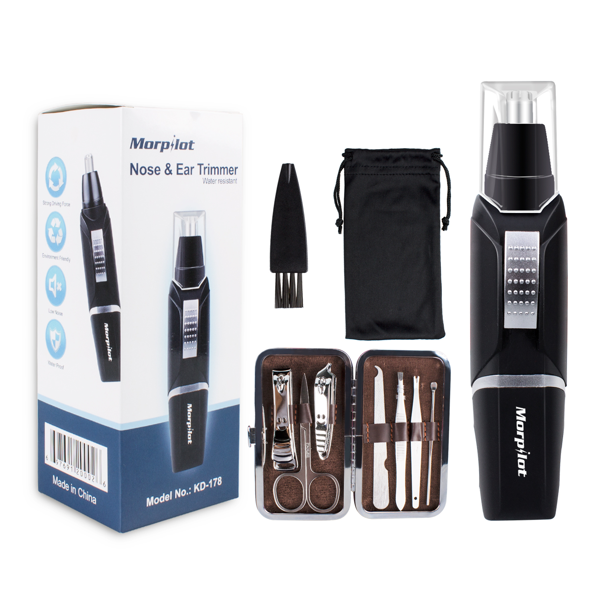 Morpilot Nose Ear Hair Trimmer for Men Water Resistant with LED light High-Speed Rotation Battery-Operated + Manicure Set