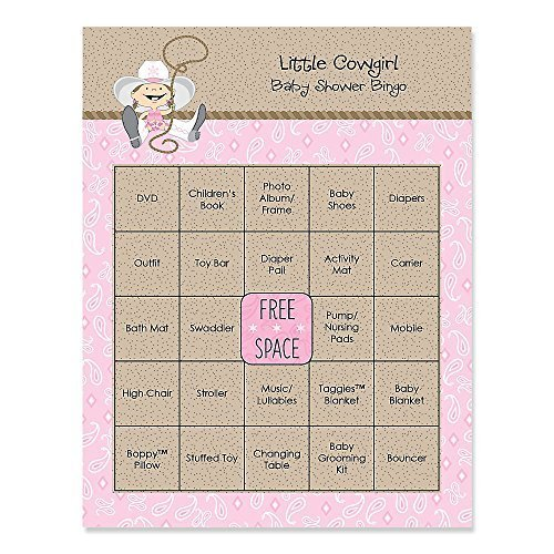 Little Cowgirl - Western Baby Shower Game Bingo Cards - 16 Count