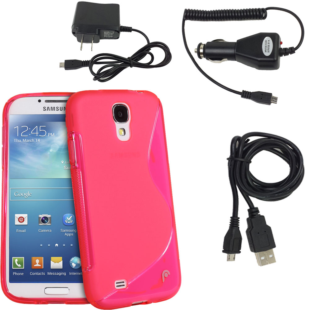 for Samsung Galaxy S4 IV I9500 New Bundle Durable Pink S Shape Slim Fit TPU Case