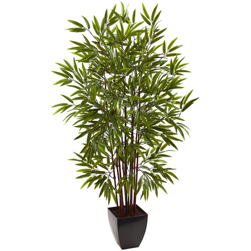 Nearly Natural 5' Bamboo Silk Tree with Planter