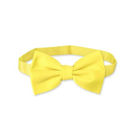 Yellow Bow Tie (Vesuvio Napoli BOWTIE Solid GOLDEN YELLOW Color Men's Bow Tie for Tuxedo or)