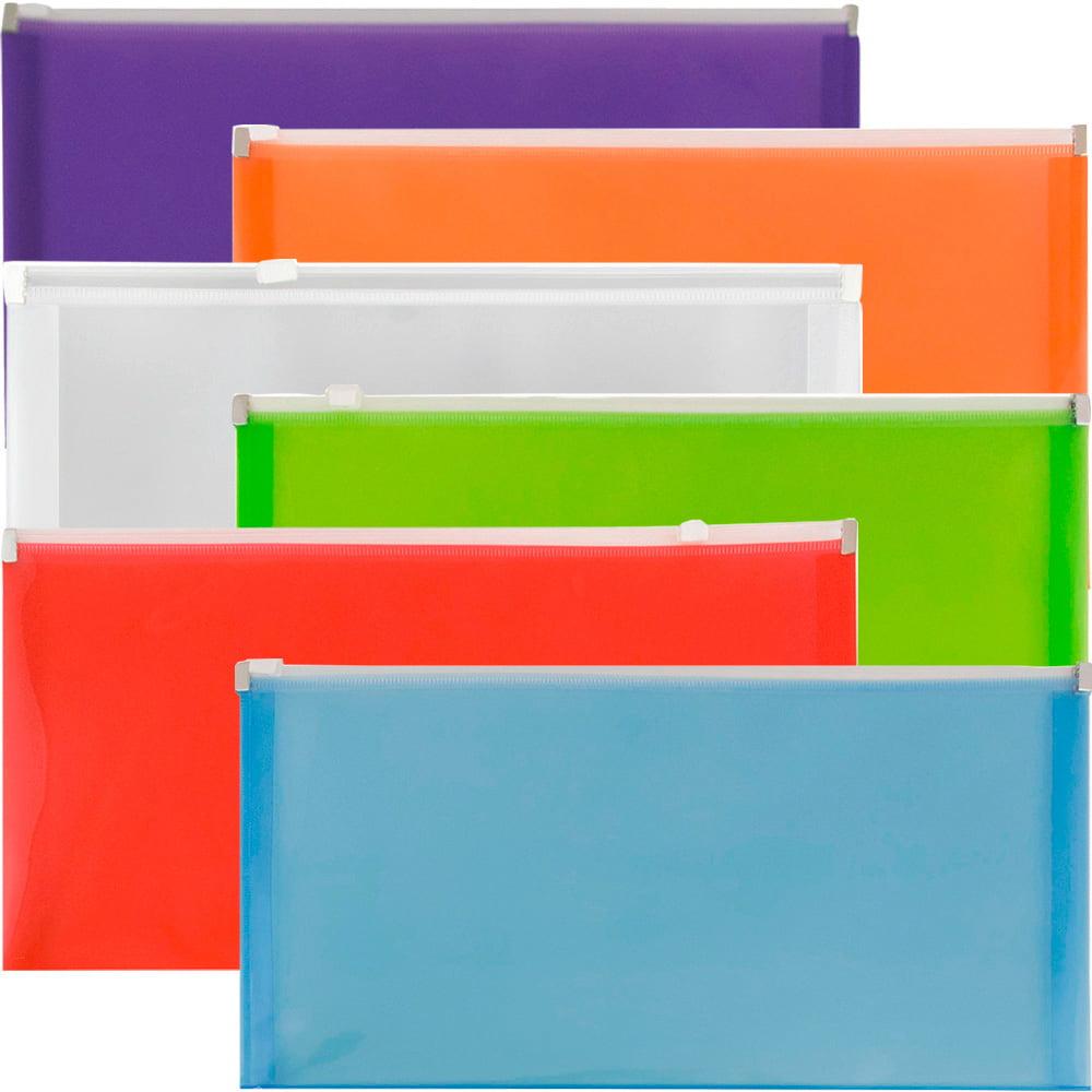 JAM Paper Plastic Envelopes with Zip Closure, #10 Booklet Wallet, 5 x 10, Assorted Colors, 6/pack