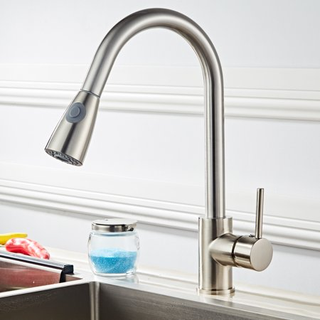 UBesGoo Kitchen Faucet Single Handle Pull Down Sprayer Kitchen Faucet,  Kitchen Sink Faucets with Pull down Sprayer
