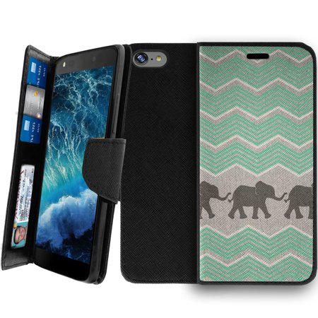 Apple iPhone 8 Clutch Case, Apple iPhone 8 Wallet Clutch Case for Women [CLIP FOLIO] Apple iPhone 8 Wallet Card & Kickstand Case with Magnetic Snap Folio Case - Teal Elephant Chevron