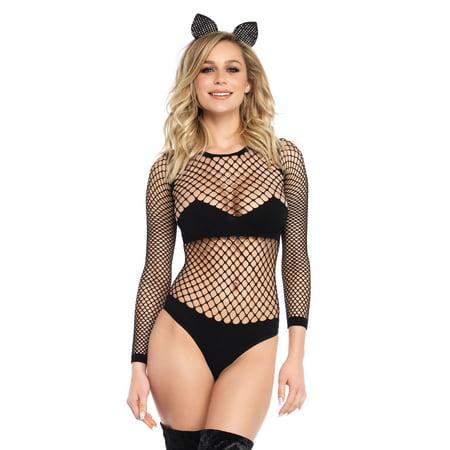 Leg Avenue Women's Naughty Kitty Industrial Net and Opaque Long Sleeved Bodysuit, Black, MED/LGE