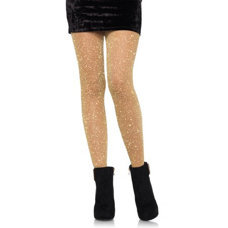 Leg Avenue Women's Lurex Sparkly Shiny Glitter Footed Tights, Gold, - Silver Metallic Tights