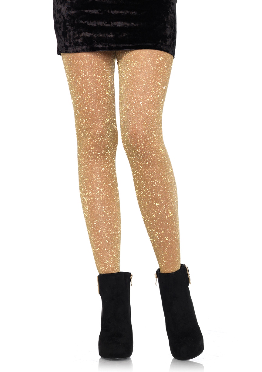 Leg Avenue Women's Lurex Sparkly Shiny Glitter Footed Tights, Gold, 1-Pair