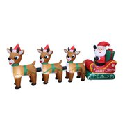 8 Foot Long Lighted Christmas Inflatable Santa Claus on Sleigh with Three Reindeer Deer Party Yard Indoor Outdoor Decoration